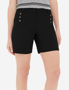 Salute your shorts! Distinguished buttoned accents give these polished shorts a military-inspired look. High Rise Shorts, High Waisted Shorts, Military Shorts, Stylish Outfits, Classic Style, Short Dresses, Buttons, Clean Slate