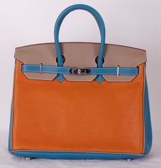 Кожаная сумка Hermes Birkin из натуральной кожи разных цветов