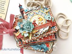 Graphic 45 photo album made by Yuliya Kuznetsova Mini Album Tutorial, Twelve Days Of Christmas, Junk Art, Album Book, Graphic 45, Mini Books, Summer Fun, Mini Albums, Paper Crafts
