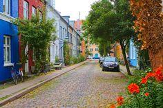 A cobblestone street in Copenhagen, Denmark