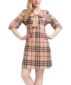 Look at this Beige & Navy Tartan Shift Dress on #zulily today!