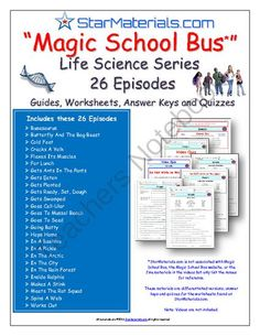 26 Episodes of Magic School Bus ** Life Science Series - Worksheet, Answer Sheet, Two Quizzes from StarMaterials - Teacher created and tested materials for teacher on TeachersNotebook.com -  (185 pages)  - 26 Episodes of Magic School Bus ** Life Science Series � Differentiated Worksheet, Answer Sheet, Two Quizzes  - Answer Sheet, Student Worksheet (Fill-In-The-Blank and Word Bank), A regular Quiz (Fill-In-The-Blank and Word Bank) and a Special Needs Quiz (F