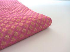 soft baby pastel pink gold flower silk brocade from door SilksByUmf