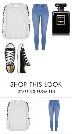 """""""Untitled #187"""" by thahera00 ❤ liked on Polyvore featuring Ganni, River Island and Converse"""