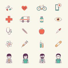 Medical and health icons on Behance