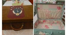 Vintage, suitcase, upcycle, recycle,shabby chic, painted, shabby delights, sewing, lace,ribbon,pocket