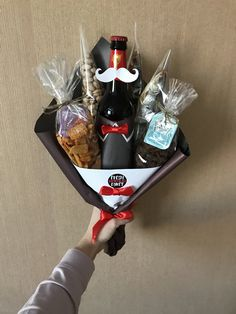 Food Bouquet, Gift Bouquet, Candy Bouquet, Simple Gifts, Easy Gifts, Cool Gifts, Food Gifts For Men, Valentine's Day Gift Baskets, Cute Birthday Gift