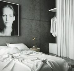 concrete + white sheets + portrait = great look via: kristinb Home Bedroom, Modern Bedroom, Bedroom Wall, Bedroom Decor, Monochrome Bedroom, Tranquil Bedroom, Interior Design Website, White Sheets, White Linens