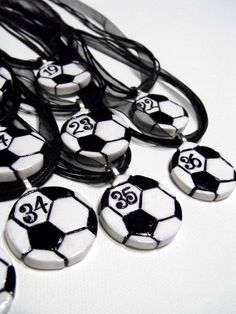 9 Soccer Ball Necklaces Personalized with Player's Numbers - Team Spirit, Spiritwear, Gifts for Soccer Players, Soccer Moms, Futbol, Party by RockThePepRally on Etsy https://www.etsy.com/listing/130739905/9-soccer-ball-necklaces-personalized