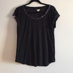 Pretty Black Tee with Deep Blue and Black Sequins Beautiful flowy tee from Aerie with sequin details! aerie Tops Tees - Short Sleeve
