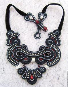 Soutache Pendant, Soutache Necklace, Textile Jewelry, Beaded Jewelry, Shibori, Washer Necklace, Braids, Ribbon, Pendants