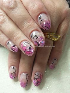 Pink glitter acrylic fade with freehand nail art