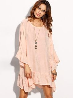 Pink Long Sleeve Ruffle Hem Shift Dress