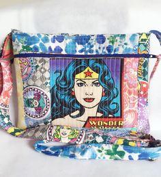Wonder Woman quilted purse, crossbody bag, patchwork handbag, superhero girls