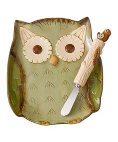 Green Owl Plate & Spreader