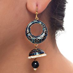 Looking for cool & Funky #jewelry accessories. Try this elegant Blue Rajasthani Meenakari Designer #Jhumki #Earring. Order it now online from Lucky Jewellery  at Rs. 307/- This #monsoon season look stunning with this designer Earring. #jewellery #fashion #style #ethnic #wedding http://ift.tt/2b96oPb