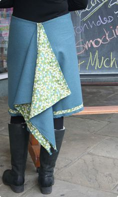 Clothkits bustle skirt in wool and Liberty - oh, I want this.....