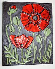 Wandplatte Keramik Wandbild 35 x 28 cm Platte 70er Jahre DDR
