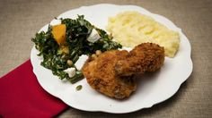 Family Food Fight: The Shahrouk sisters' fried chicken with mash and kale and pumpkin salad Chicken Swing, Pumpkin Salad, Lebanese Recipes, Vegetable Seasoning, Baked Fish, Salad Ingredients, Fried Chicken, Kale