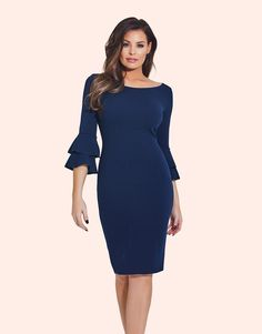 Ruffles are so in this season and this classic navy bodycon dress from the Jessica Wright has you covered.