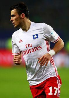 Nicolai Mueller of Hamburg runs during the Bundesliga match between Hamburger SV and FC Augsburg at Volksparkstadion on December 10, 2016 in Hamburg, Germany.
