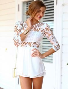 New Arrivals   Womens Clothes, Clothing & Fashion   Online Shopping - Mura Boutique Lace backless white playsuit Mura Boutique, White Playsuit, Fashion Outfits, Womens Fashion, Fashion Beauty, Backless, Cute Outfits, Rompers, Clothes For Women