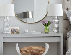 ikea malm painted high gloss gray. good idea for next to guest bed.  gives them a desk and a table @Linda Santamaria