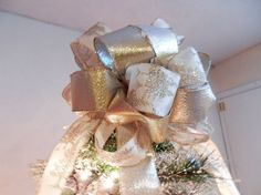 Christmas Tree Topper Bow Gold and silver by creativelycarole