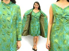 Vintage 60s Turquoise Green Brocade Party by GlennasVintageShop