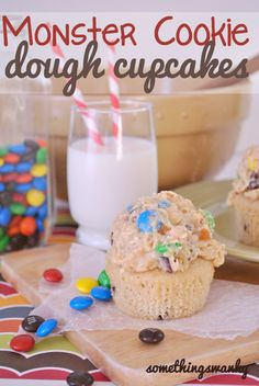 Monster Cookie Dough Cupcakes. #food #cupcakes #cookie_dough #birthday