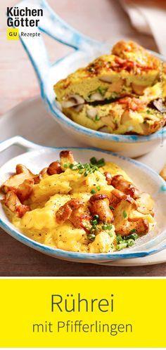 Dieses tolle Rezept für #Rührei mit #Pfifferlingen musst du probieren. Egal ob zum Frühstück oder Abendbrot. Baked Potato, Macaroni And Cheese, Brunch, Tasty, Diet, Vegetables, Cooking, Ethnic Recipes, Allg
