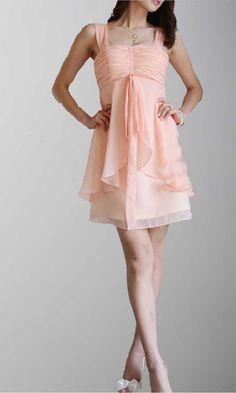 Shoulder Straps Empire Waist Above Knee Dress For Wedding KSP041