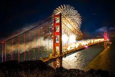 Fireworks at the Golden Gate Bridge