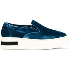 Manuel Barceló velvet effect slip-on sneakers ($235) ❤ liked on Polyvore featuring shoes, sneakers, blue, slip-on shoes, slip-on sneakers, blue shoes, slip on shoes and pull on sneakers
