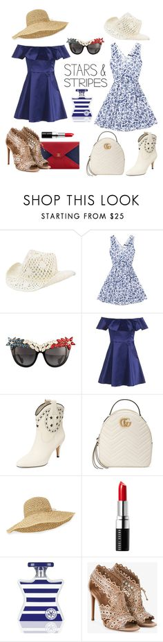"""Fourth of July"" by spockfound221b ❤ liked on Polyvore featuring San Diego Hat Co., Anna-Karin Karlsson, Topshop, Marc Jacobs, Gucci, Chanel, Helen Kaminski, Bobbi Brown Cosmetics, Bond No. 9 and Alaïa"