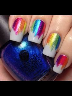 Rainbow vertical gradient nail art