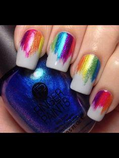 Rainbow vertical gradient nail art