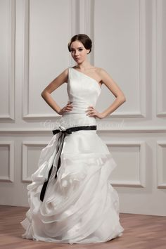 A-line Organza One Shoulder Floor-Length Full Back Pick-ups And Sash/Ribbon Wedding Dress - gopromdres.com