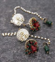 White, Red & Green Kashmiri Embellished Earrings