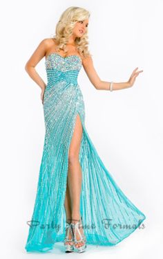 Elegant Beaded Sequins See Through Bodice Corset Side Slit Blue Chiffon Mermaid Evening Dress Party Prom Gowns 2013