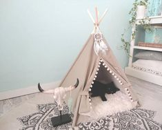 Pet teepee including pillow Dog house Cat bed Tent Tipi