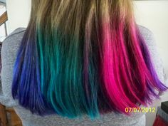 Mermaid/Rainbow hair color by Shanna Tate at EnKore Salon & Day Spa
