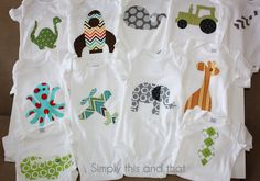 Simply This and that: Fabric Applique Boy Onesies - Could hang hangers on rope with that has knots tied in it.