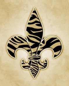 Classic Fleur De Lis with Black and Gold Zebra Print. on Etsy, $10.00