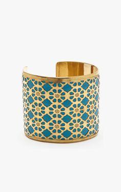 Gold & Blue Carved Cuff
