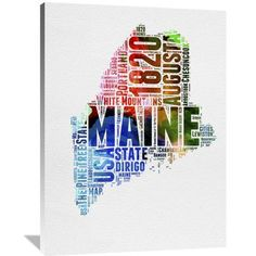 Naxart 'Maine Watercolor Word Cloud' Textual Art on Wrapped Canvas Size: