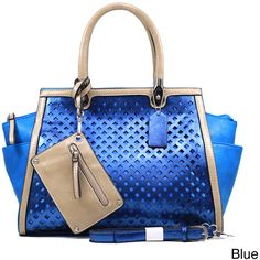 Dasein Women's Metallic Two-tone Perforated Shoulder Bag (Blue) ($49) ❤ liked on Polyvore featuring bags, handbags, shoulder bags, multi, shoulder strap bag, cell phone shoulder bag, change purse, coin pouch and cell phone pouch