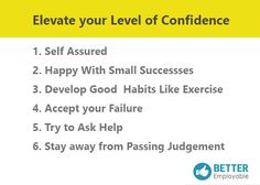 Ladder to raise your confidence level: #Self Assurance #Success #Judgement #Failures #Help