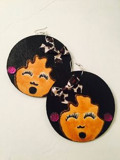 Hand painted wood earrings the joy of music jewelry accessory. by LaJoytraCreations on Etsy
