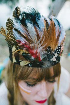 DIY feather headdress | Hello Miss Lovely Photography | http://burnettsboards.com/2014/01/free-spirited-bohemian-diy-wedding/